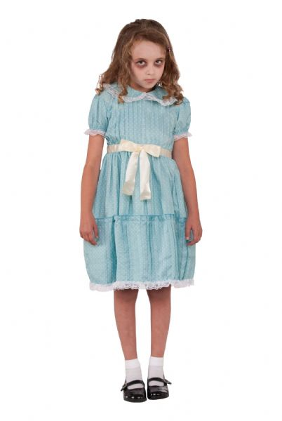 Girls Creepy Sister Costume Halloween Fancy Dress Outfit